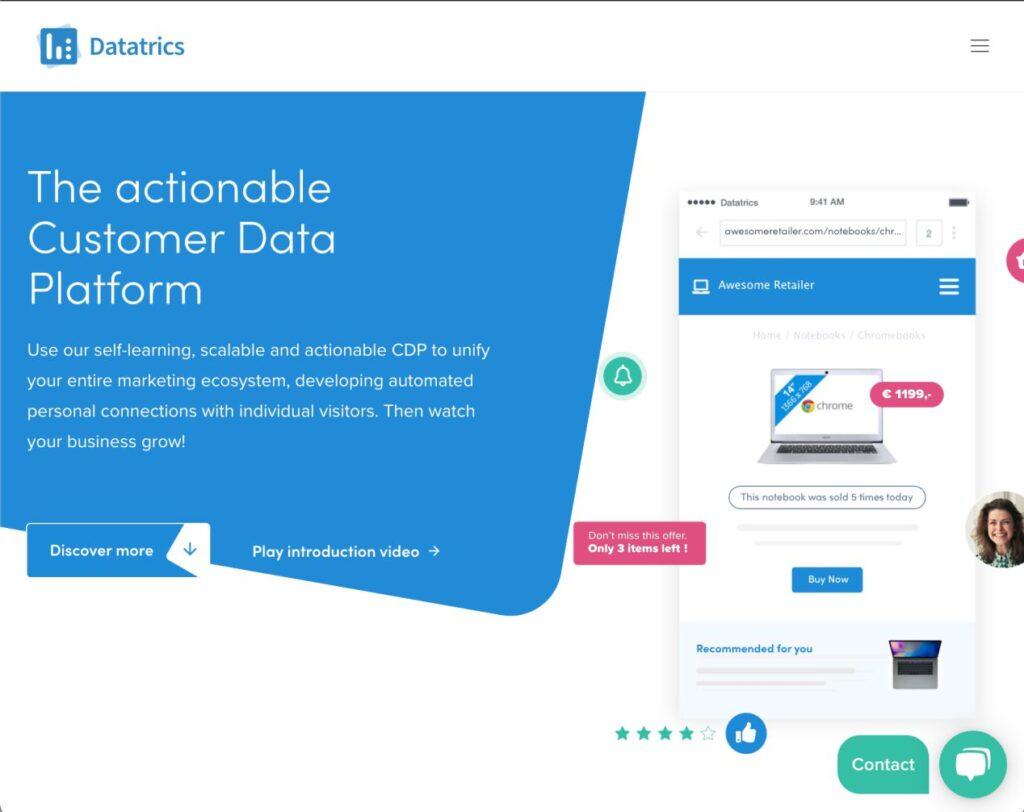 Frontpage of Datatrics website